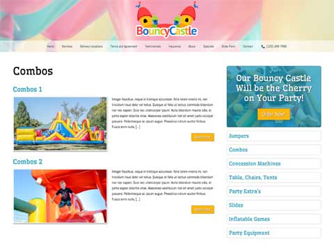 Bouncy Castle WordPress Theme - Detailed service pages