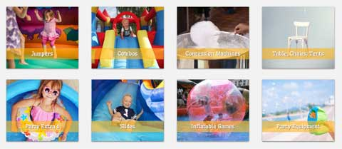 Bouncy Castle WordPress Theme - Convenient services overview