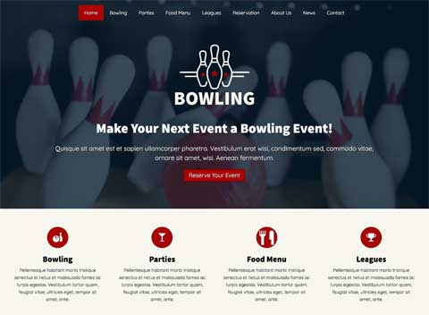 Bowling WordPress Thema - Kwalitatief design