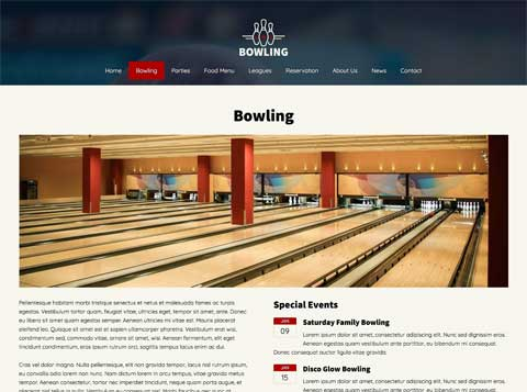 Bowling WordPress Theme - Attractive service pages