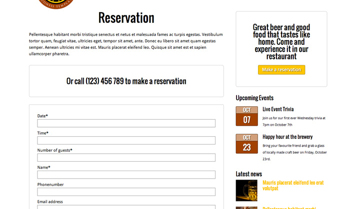 Brewery WordPress Theme - Online reservations