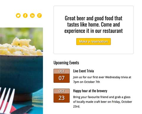 Brewery WordPress Theme - Eye-catching call-to-actions