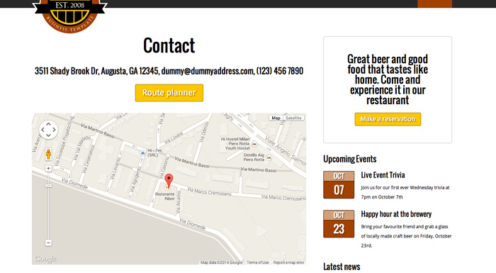 Brewery WordPress Theme - Contact section