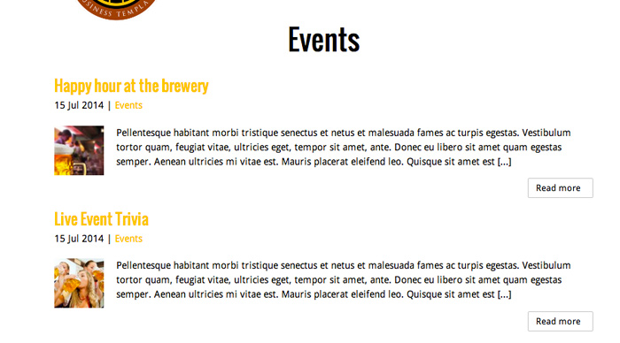 Brewery WordPress Theme - Events overview