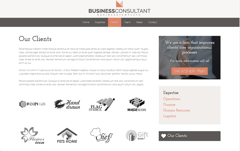Business Consultant WordPress Theme - Display client logos