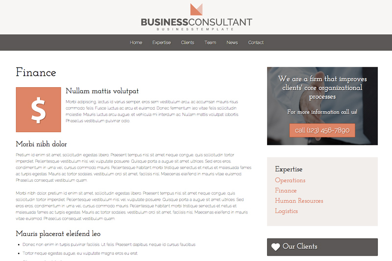 Business Consultant WordPress Theme - Service pages