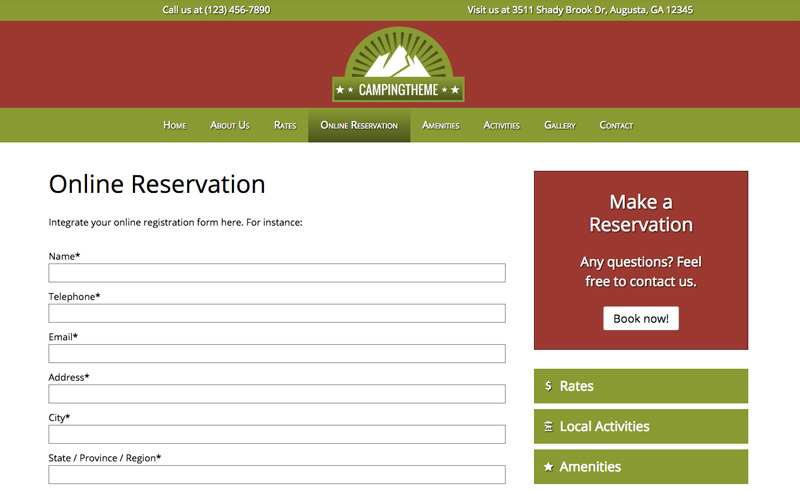 Camping WordPress Theme - Appointment form