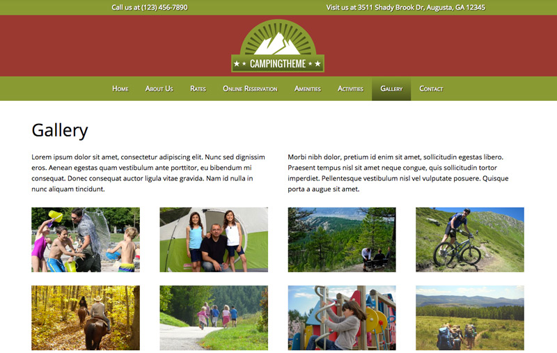 Camping WordPress Theme - Dazzling image gallery