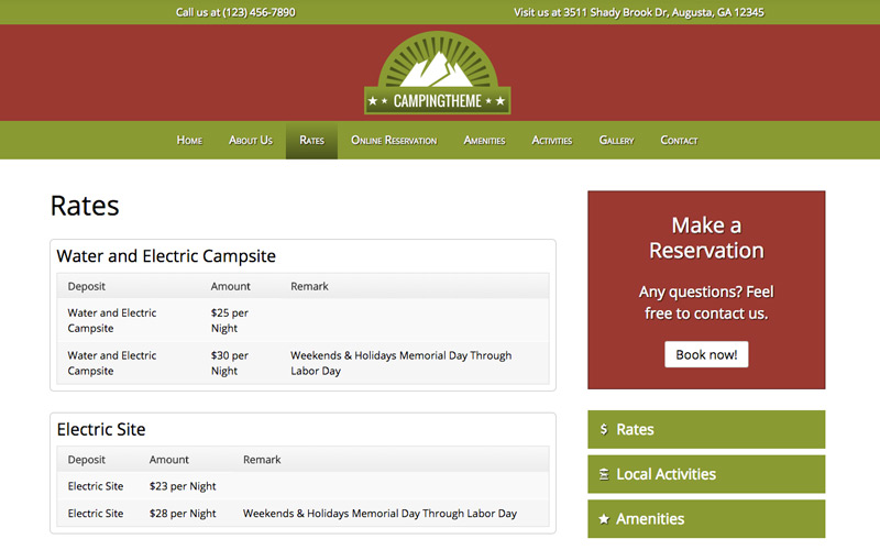 Camping WordPress Theme - Pricing overview