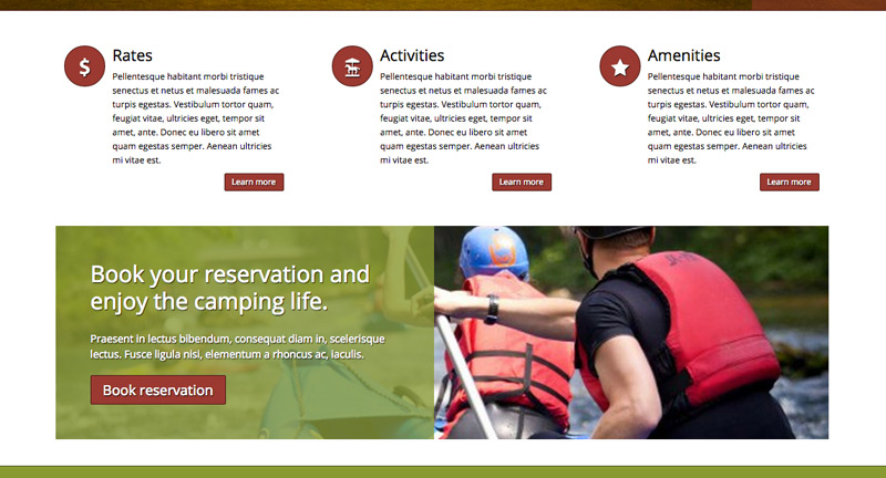 Camping WordPress Theme - Service pages