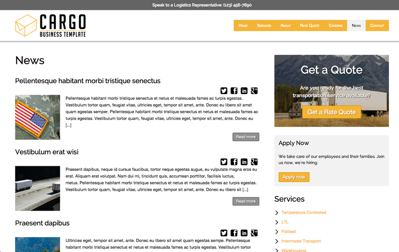 Cargo WordPress Theme - News blog included