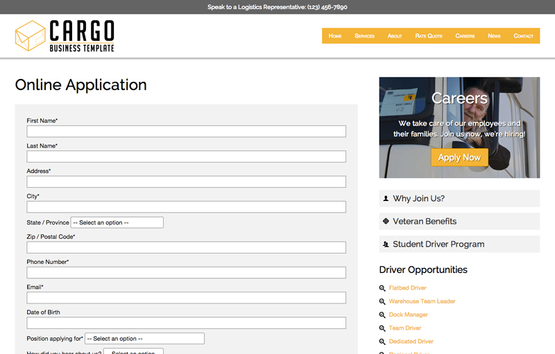 Cargo WordPress Theme - Online application form