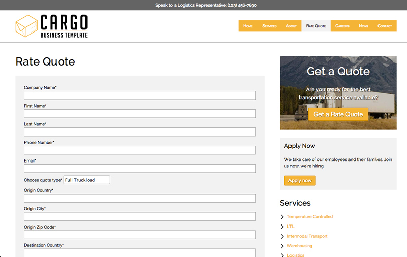 Cargo WordPress Theme - Online quote request form