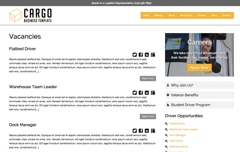 Cargo WordPress Theme - Employment and vacancies