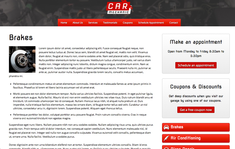 Car Mechanic WordPress Theme - Strong service pages