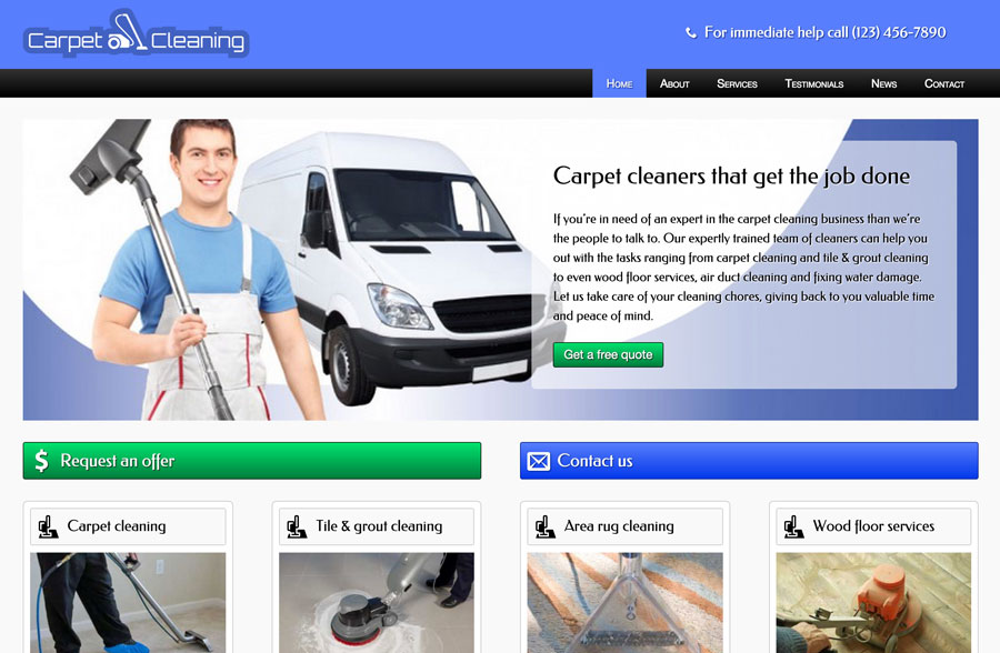 Carpet Cleaning WordPress Theme - Call-to-actions