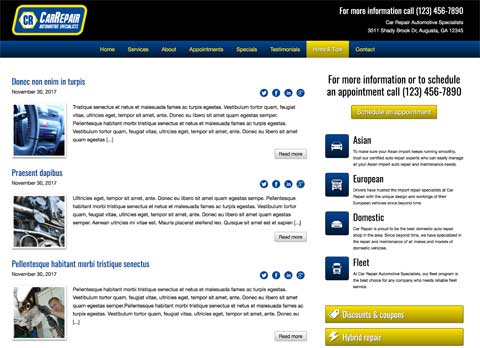 Car Repair WordPress Theme - Blog option