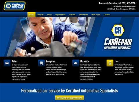 Car Repair WordPress Theme - Clean, elegant design