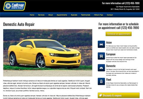 Car Repair WordPress Theme - Detail pages for services
