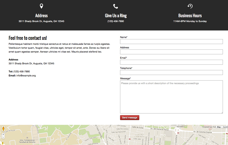Car Service WordPress Theme - Contact and route planner