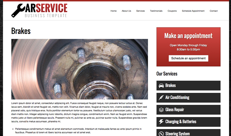 Car Service WordPress Theme - Appealing service pages