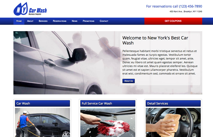 Car Wash WordPress Theme - Bold, professional design