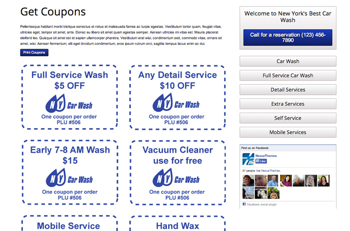 Car Wash WordPress Theme - Coupons page