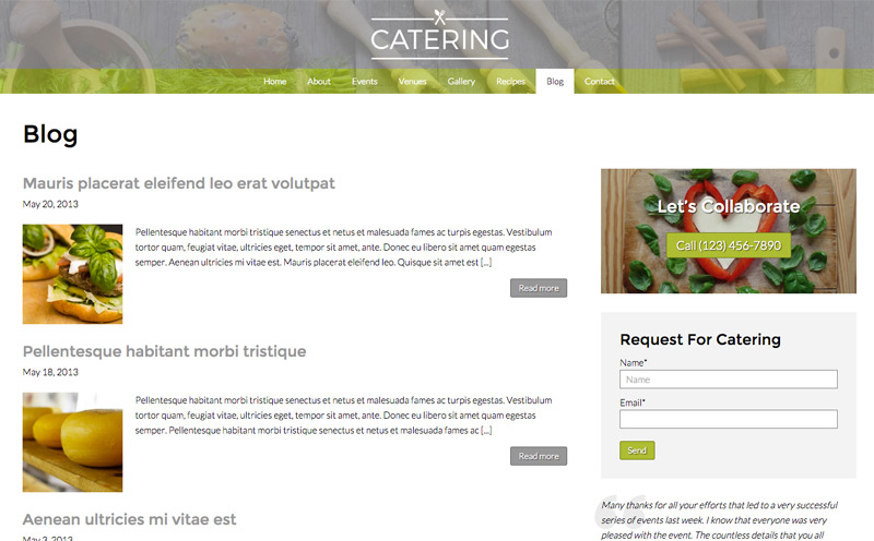 Catering WordPress Theme - Powerful blog features