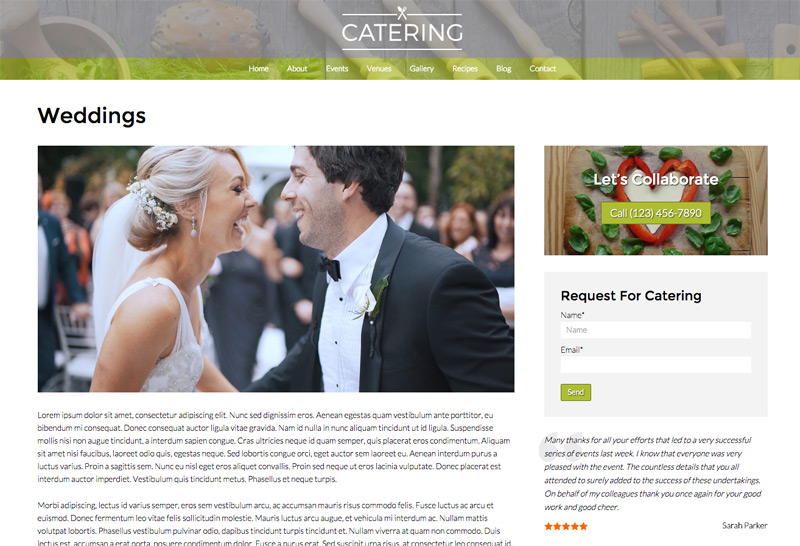 Catering WordPress Theme - Service details