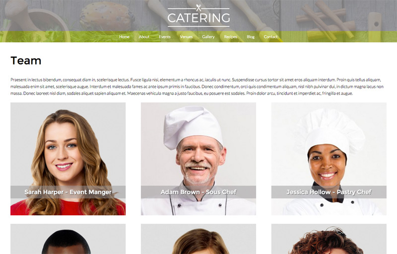 Catering WordPress Theme - Introduce your team