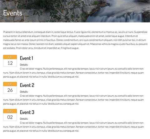 Charity WordPress Theme - Events calendar page