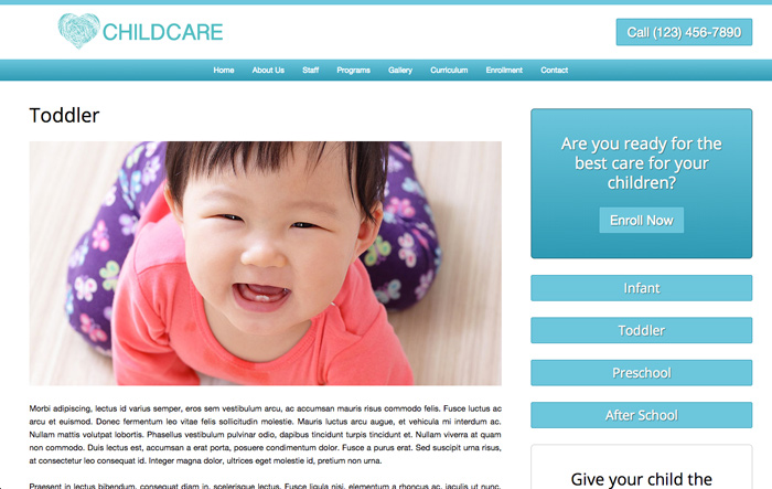 Child Care WordPress Theme - Service pages