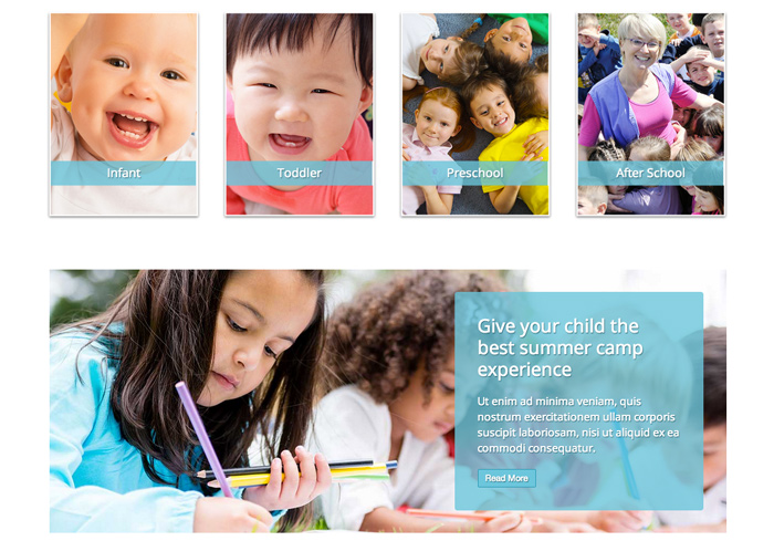 Child Care WordPress Theme - Clean service overview