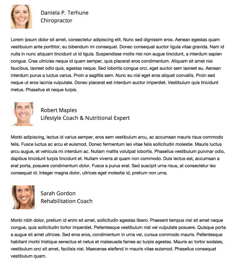 Chiropraxie WordPress Thema - Team overzicht