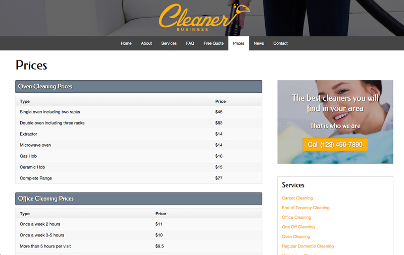 Cleaner Business WordPress Theme - Pricing charts