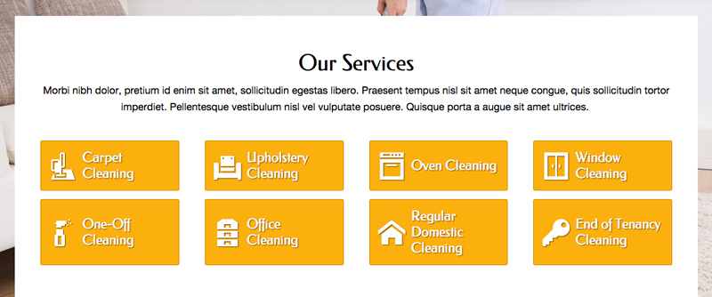 Cleaner Business WordPress Theme - Convenient services overview