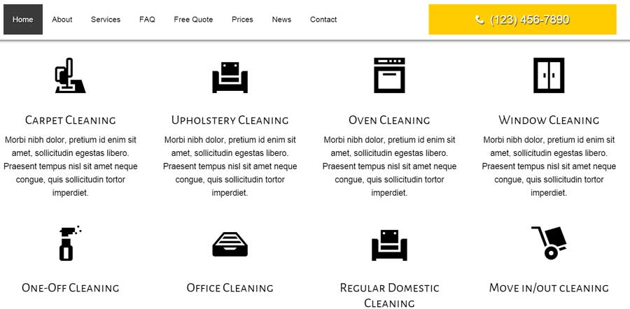 Cleaning Services WordPress Theme - Service overview