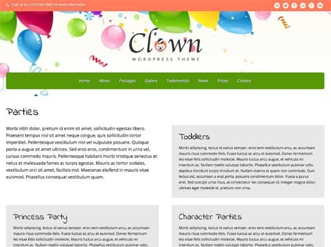Clown WordPress Theme - Attractive service pages