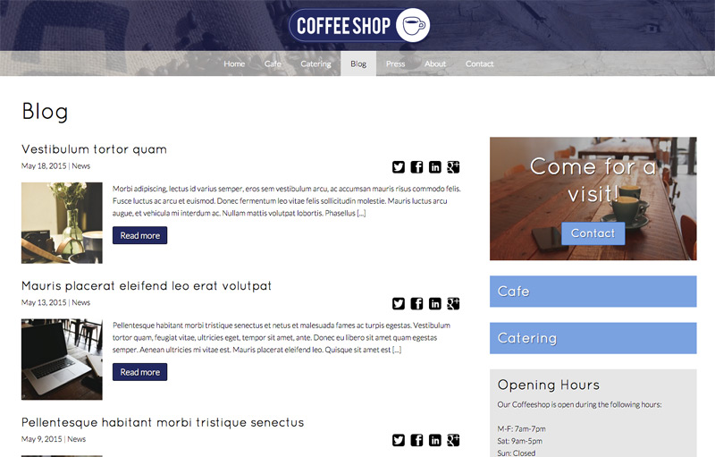 Cafe WordPress Theme - Blog Included
