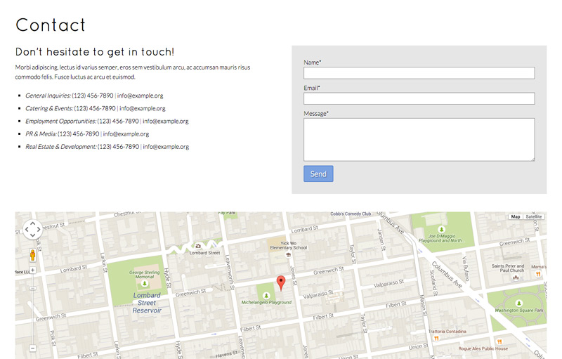 Cafe WordPress Thema - Contact pagina en route planner
