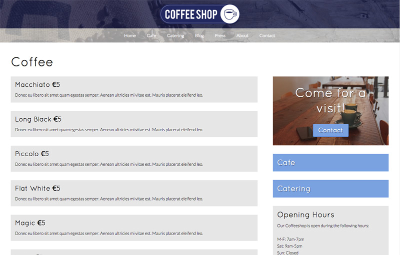 Cafe WordPress Theme - Detail pages
