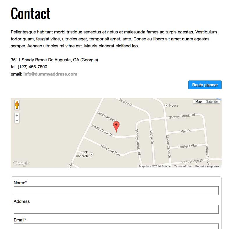 Construction Company WordPress Theme - Clear contact page