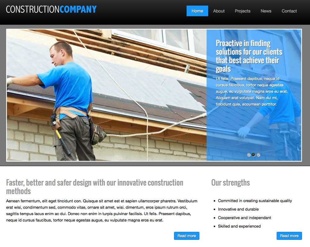Construction Company WordPress Theme - Clean, professional design