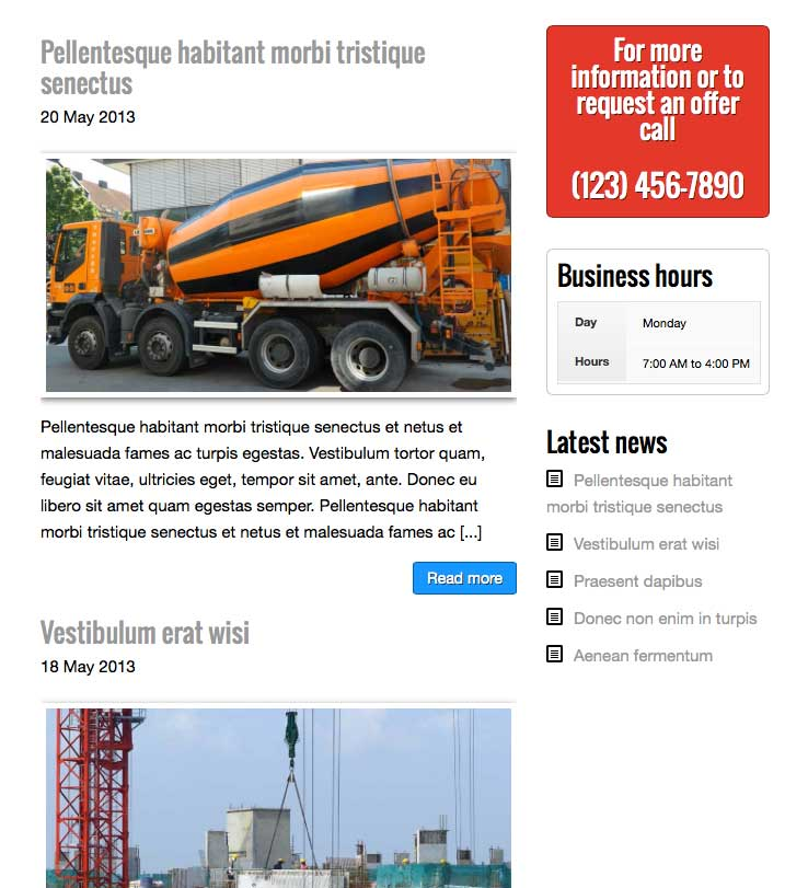 Construction Company WordPress Theme - Blog Included