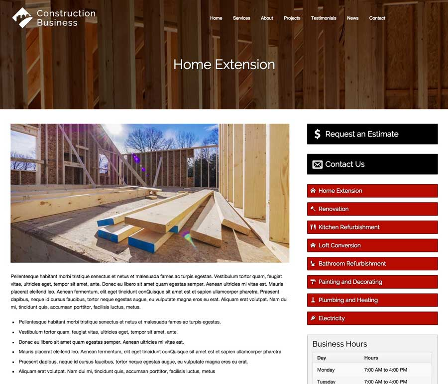 Construction Business WordPress Theme - Detail pages