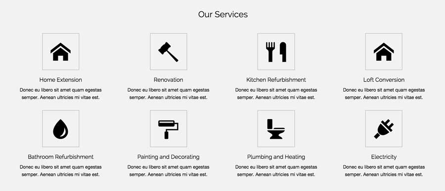 Construction Business WordPress Theme - Clean service overview