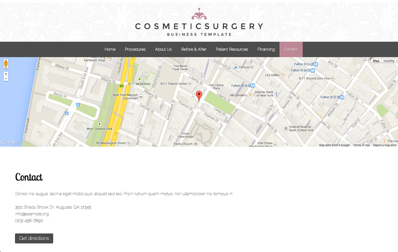 Plastische Chirurgie WordPress Thema - Sterke contact sectie