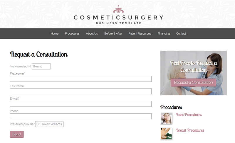 Cosmetic Surgery WordPress Theme - Online appointment setting