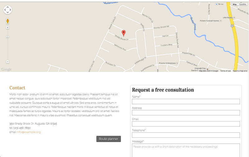 CPA WordPress Theme - Contact page with route planner