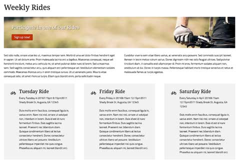 Cycling Club WordPress Theme - Attractive service pages